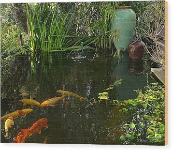 Wood Print featuring the photograph Soothing Koi Pond by K L Kingston