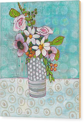 Sophia Daisy Flowers Wood Print by Blenda Studio