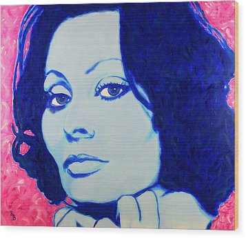 Wood Print featuring the painting Sophia Loren Pop Art Portrait by Bob Baker