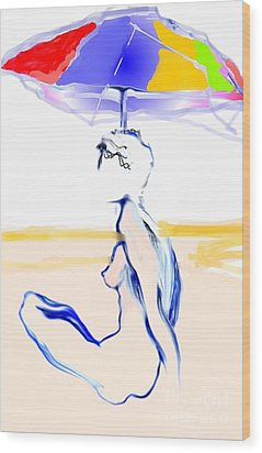 Sophi's Umbrella #2 - Female Nude Wood Print by Carolyn Weltman