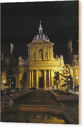 Wood Print featuring the photograph Sorbonne Night by Christopher Kirby