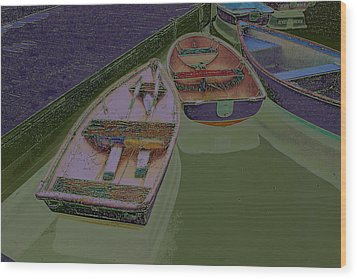 Wood Print featuring the photograph Sorrento Harbor Boats With Sabattier by Bill Barber