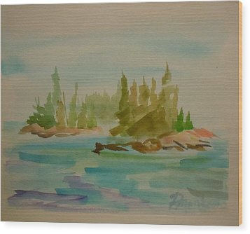 Wood Print featuring the painting Sorrento Islands by Francine Frank