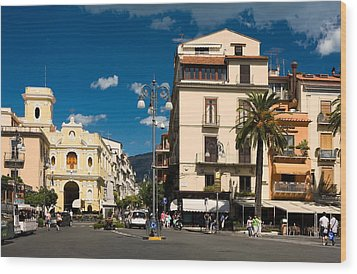 Sorrento Italy Piazza Wood Print