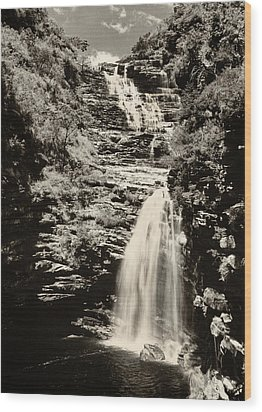Sossego Waterfall Wood Print by Amarildo Correa