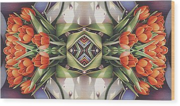 Soul Plexus - Tulips With Pearl Chakras Wood Print by Amy S Turner