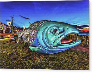 Soul Salmon During Blue Hour Wood Print