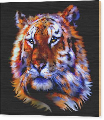 Wood Print featuring the painting Soulful Tiger by Elinor Mavor