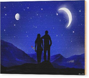 Wood Print featuring the digital art Soulmates by Bernd Hau