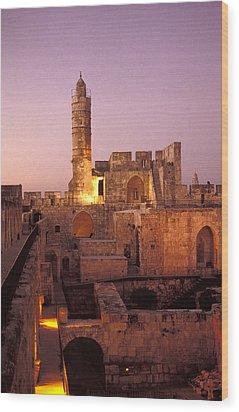 Sound And Light Show At Jerusalem City Wood Print by Richard Nowitz