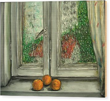 Sound Of Rain  Oil Painting Wood Print by Natalja Picugina