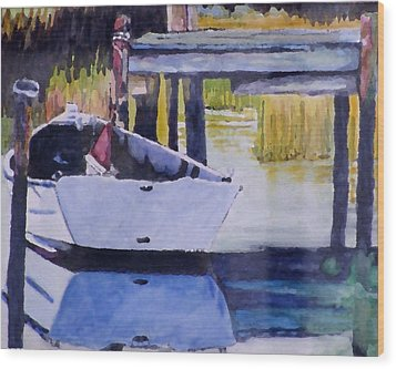 Wood Print featuring the painting Sound Side Dock by Jim Phillips