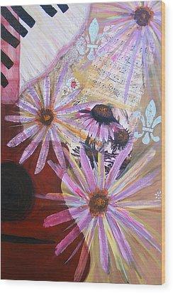 Sounds Like Flowers Wood Print by Christina Fajardo