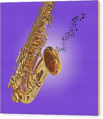 Sounds Of The Sax In Purple Wood Print by Gill Billington