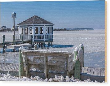 Soundside Ice Wood Print by Gregg Southard