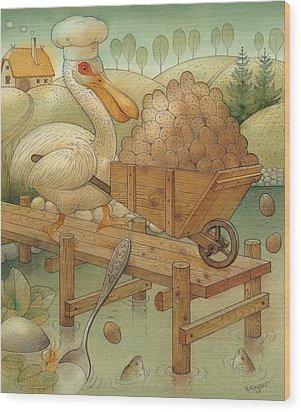 Soup In The Lake Wood Print by Kestutis Kasparavicius
