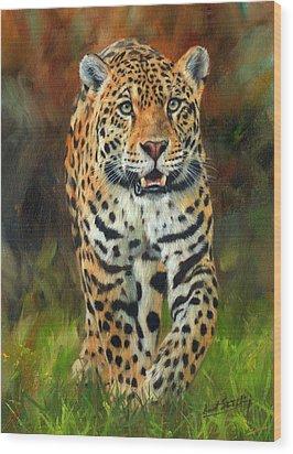 South American Jaguar Wood Print by David Stribbling