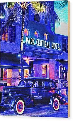 South Beach Hotel Wood Print by Dennis Cox WorldViews