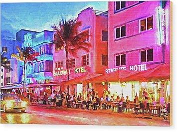 South Beach Neon Wood Print by Dennis Cox WorldViews