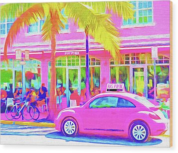 South Beach Pink Wood Print by Dennis Cox WorldViews
