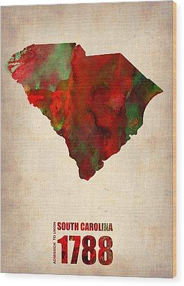 South Carolina Watercolor Map Wood Print by Naxart Studio