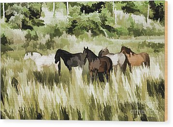 Wood Print featuring the mixed media South Dakota Herd Of Horses by Wilma Birdwell