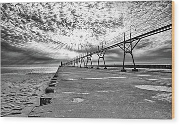 South Haven Pier Wide Angle Wood Print