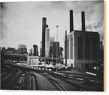 South Loop Railroad Yard Wood Print