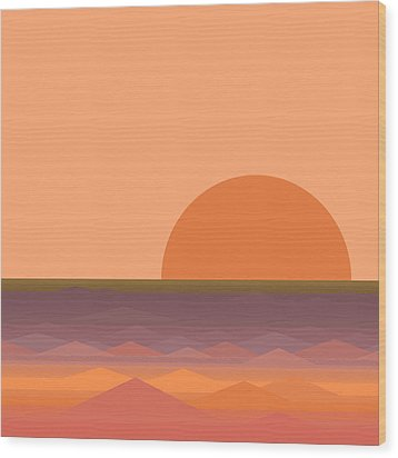 Wood Print featuring the digital art South Sea Sunrise by Val Arie