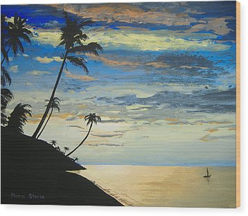 Wood Print featuring the painting South Sea Sunset by Norm Starks