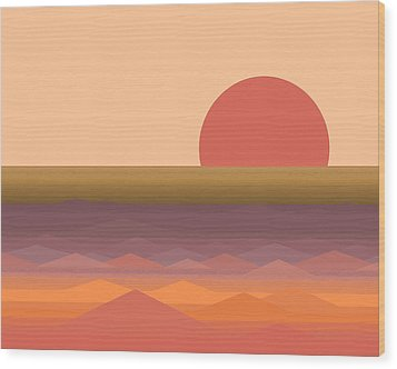 Wood Print featuring the digital art South Seas Abstract Sunrise by Val Arie