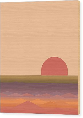 Wood Print featuring the digital art South Seas Abstract Sunrise - Vertical by Val Arie