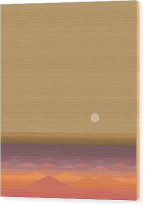 Wood Print featuring the digital art South Seas Sunrise - Vertical by Val Arie
