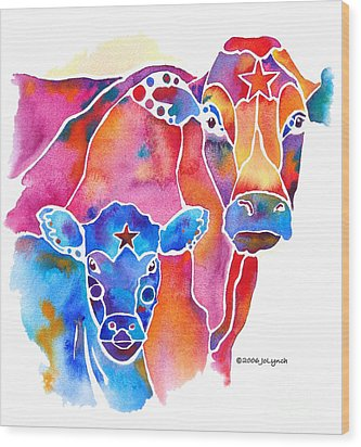 South West Cow And Calf Wood Print by Jo Lynch