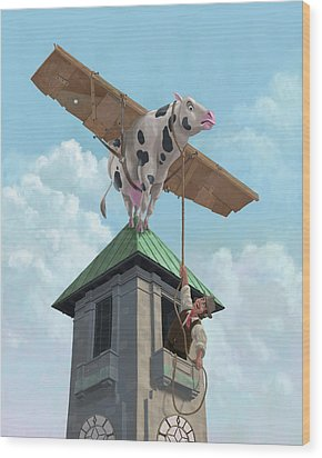 Southampton Cow Flight Wood Print by Martin Davey