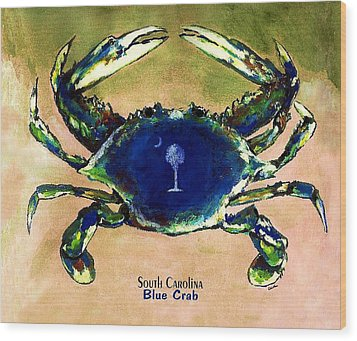 Southcarolina Blue Crab Wood Print by Eddie Glass