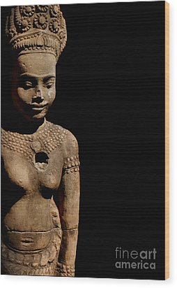Southeast Asian Spiritual Statue - Cambodia Wood Print by Louise Fahy