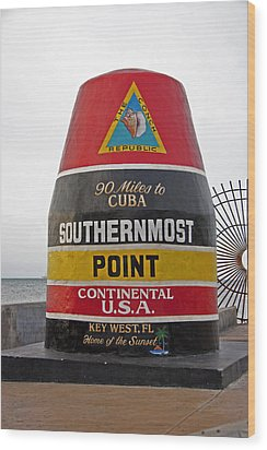 Southermost Point Of U.s.a. Buoy Marker Wood Print by John Stephens