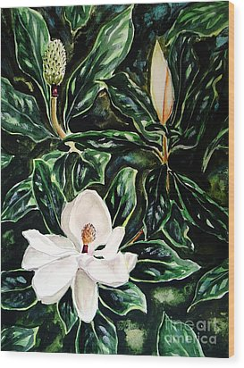 Southern Magnolia Bud And Bloom Wood Print by Patricia L Davidson