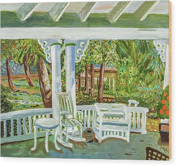 Southern Porches Wood Print by Margaret Harmon