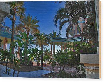 Southernmost Lush Garden In Key West Wood Print by Susanne Van Hulst