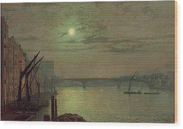 Southwark Bridge Wood Print by John Atkinson Grimshaw