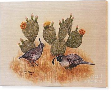Southwest Art Gambels Quail Wood Print