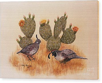 Southwest Art Gambels Quail Wood Print by Judy Filarecki