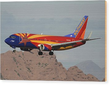 Southwest Boeing 737-3h4 N383sw Arizona Phoenix Sky Harbor December 20 2015  Wood Print by Brian Lockett