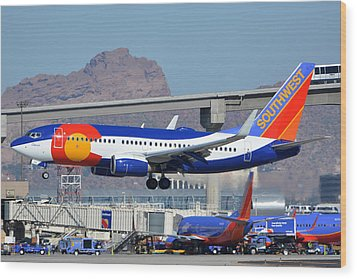 Southwest Boeing 737-7h4 N230wn Colorado One Phoenix Sky Harbor January 24 2016 Wood Print by Brian Lockett