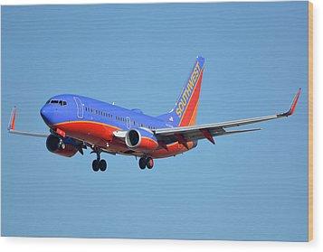 Southwest Boeing 737-7h4 N238wn Phoenix Sky Harbor January 17 2016 Wood Print by Brian Lockett