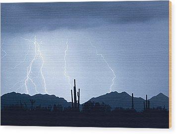 Southwest Desert Lightning Blues Wood Print by James BO  Insogna