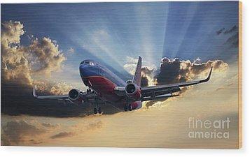 Southwest Dramatic Rays Of Light Wood Print