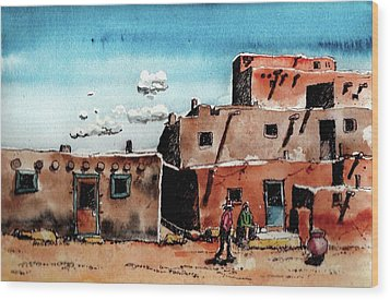 Wood Print featuring the painting Southwest Homes by Terry Banderas